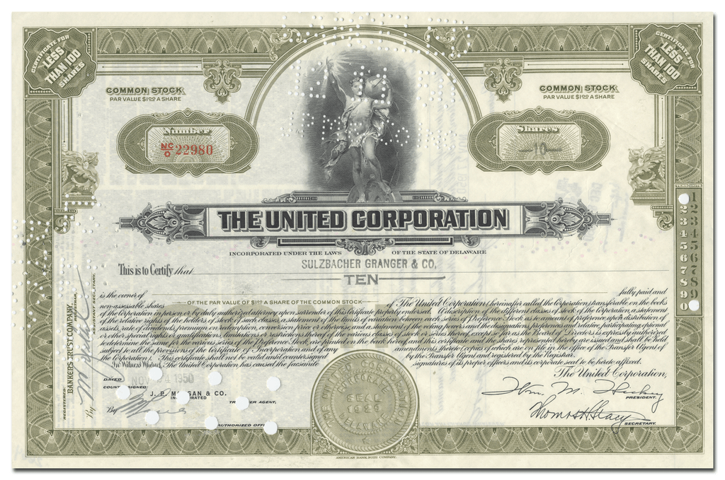 United Corporation Stock Certificate
