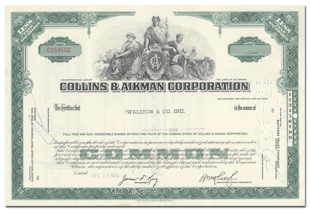 Collins & Aikman Corportion Stock Certificate