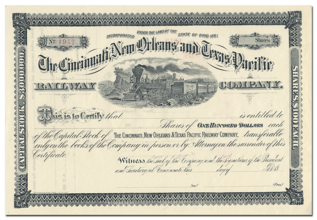 Cincinnati, New Orleans and Texas Pacific Railway Company Stock Certificate
