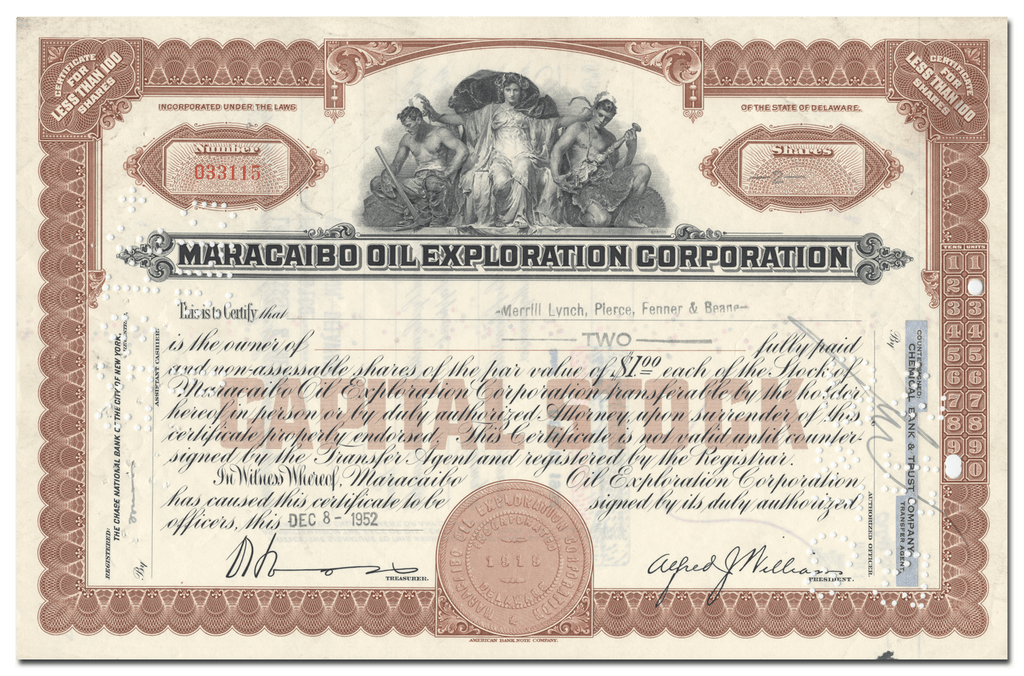 Maracaibo Oil Exploration Corporation Stock Certificate