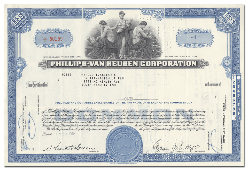 Phillips-Van Heusen Corporation Stock Certificate