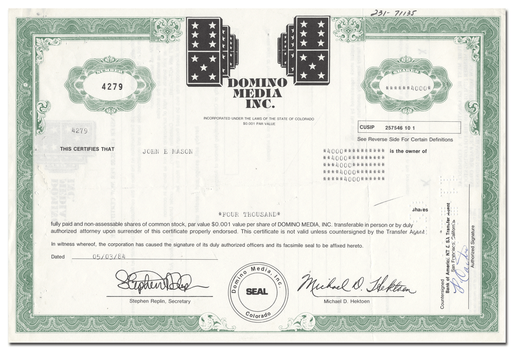 Domino Media, Inc. Stock Certificate