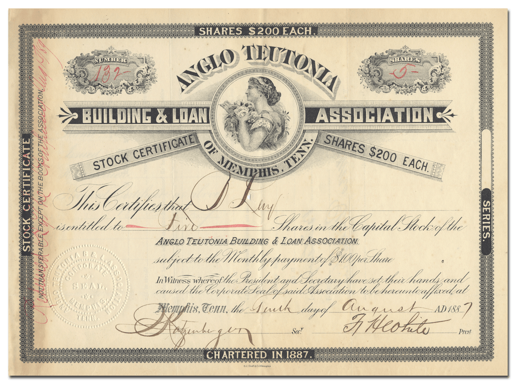 Anglo Teutonia Building & Loan Assocation of Memphis, Tenn. Stock Certificate