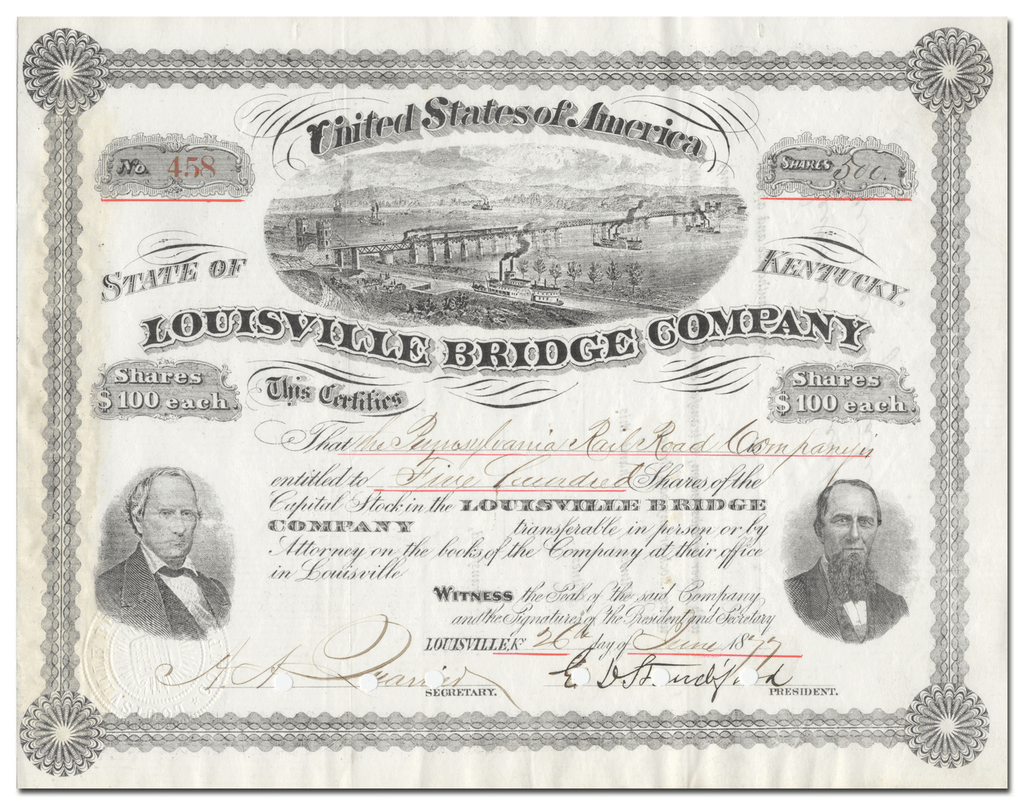 Louisville Bridge Company Stock Certificate Signed by Elisha Standiford