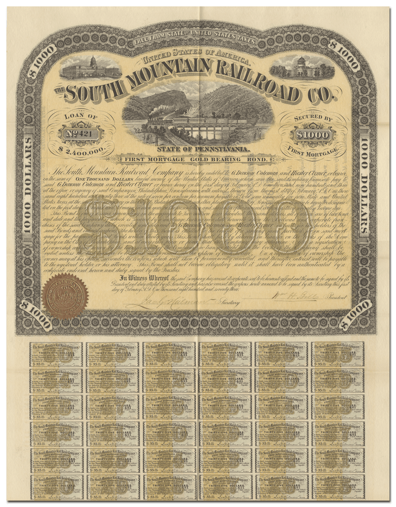 South Mountain Railroad Company Bond Certificate