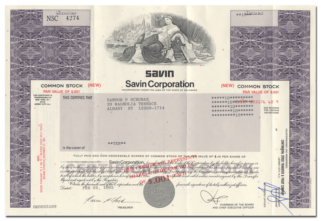 Savin Corporation Stock Certificate