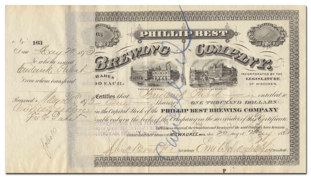 Phillip Best Brewing Company Stock Certificate Signed by Frederick Pabst