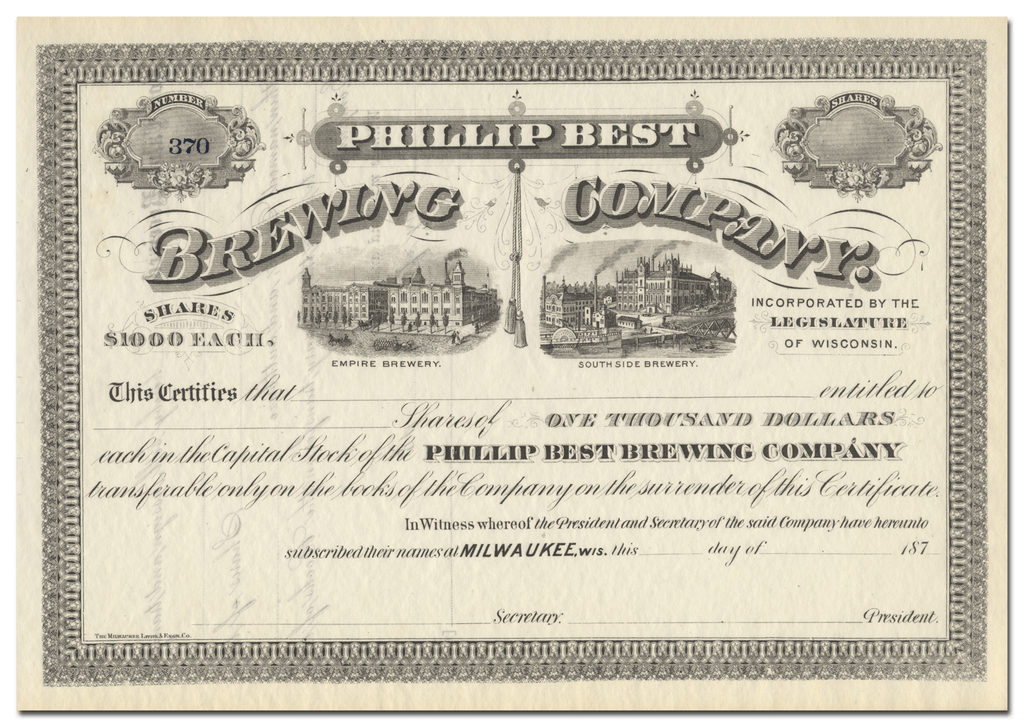 Phillip Best Brewing Company Stock Certificate