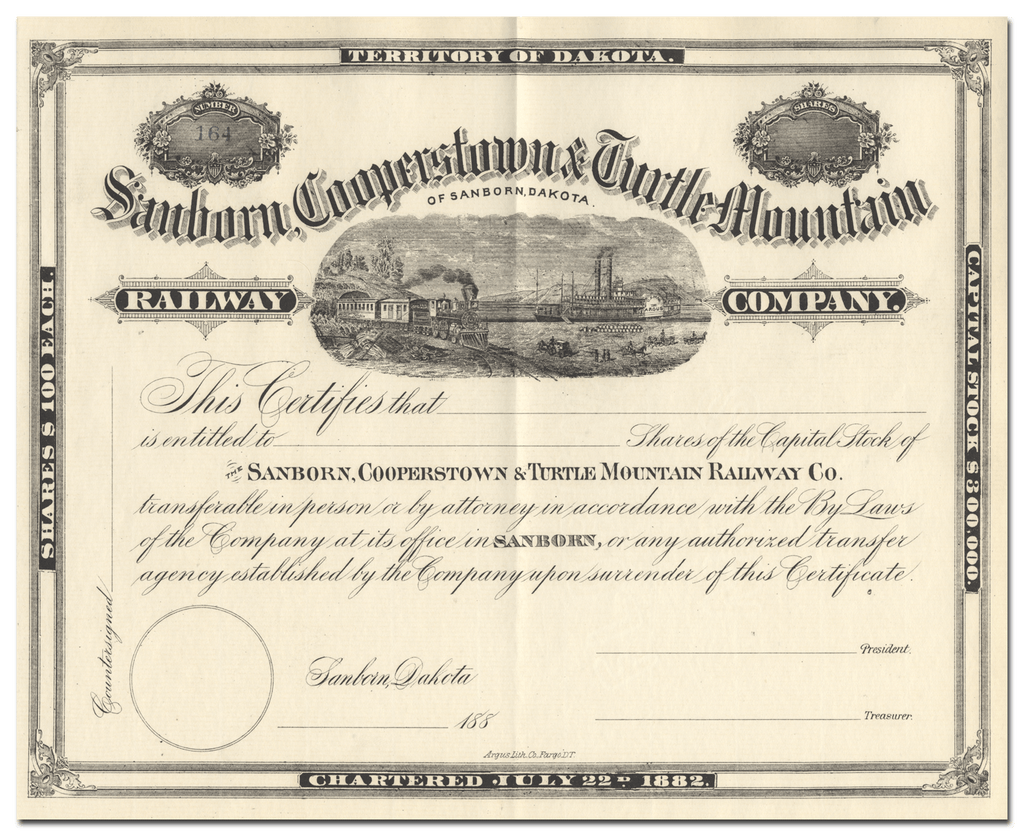 Sanborn, Cooperstown & Turtle Mountain Railway Company Stock Certificate