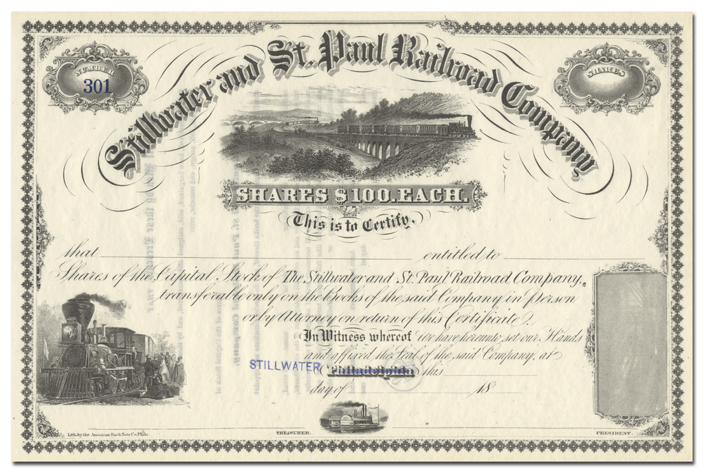 Stillwater and St. Paul Railroad Company Stock Certificate