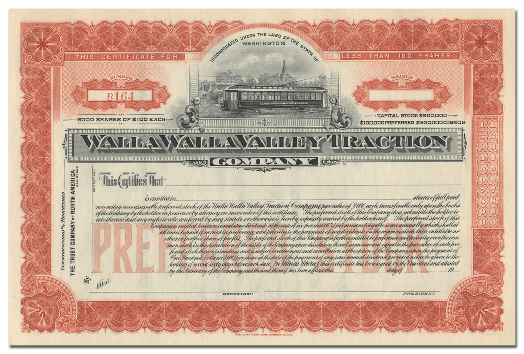 Walla Walla Valley Traction Company Stock Certificate