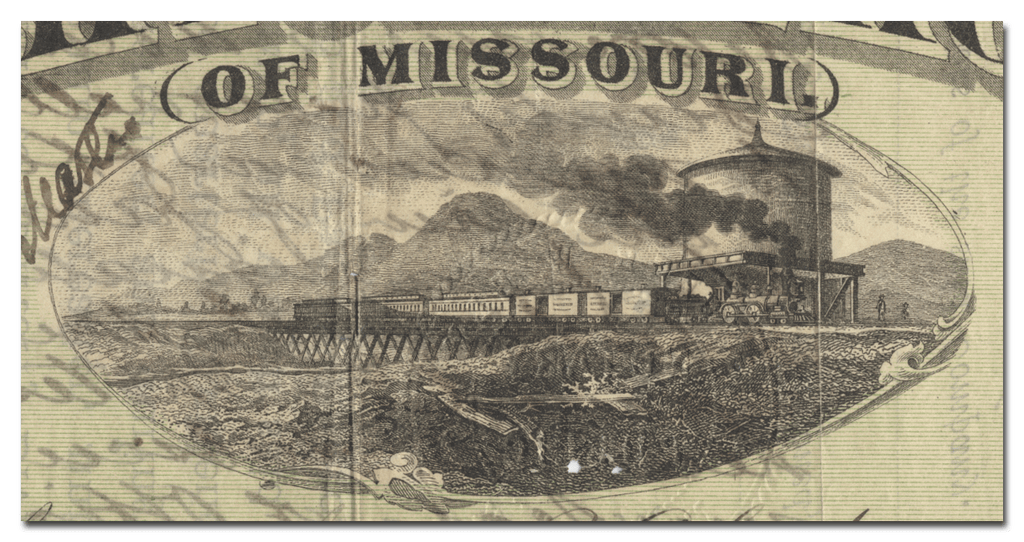 Pacific Rail Road (of Missouri) Stock Certificate