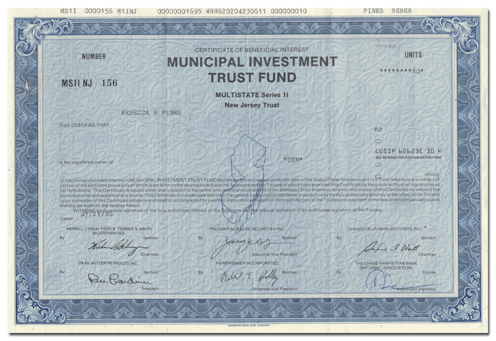 Municipal Investmnet Trust Fund Certificate of Beneficial Interest