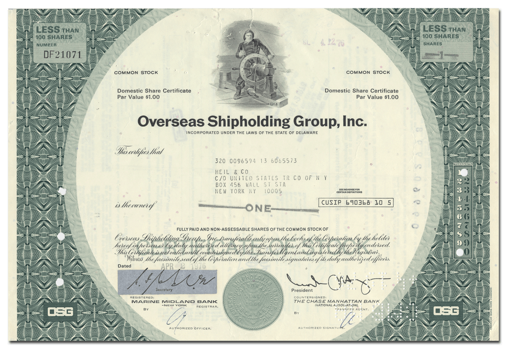 Overseas Shipholding Group, Inc. Stock Certificate