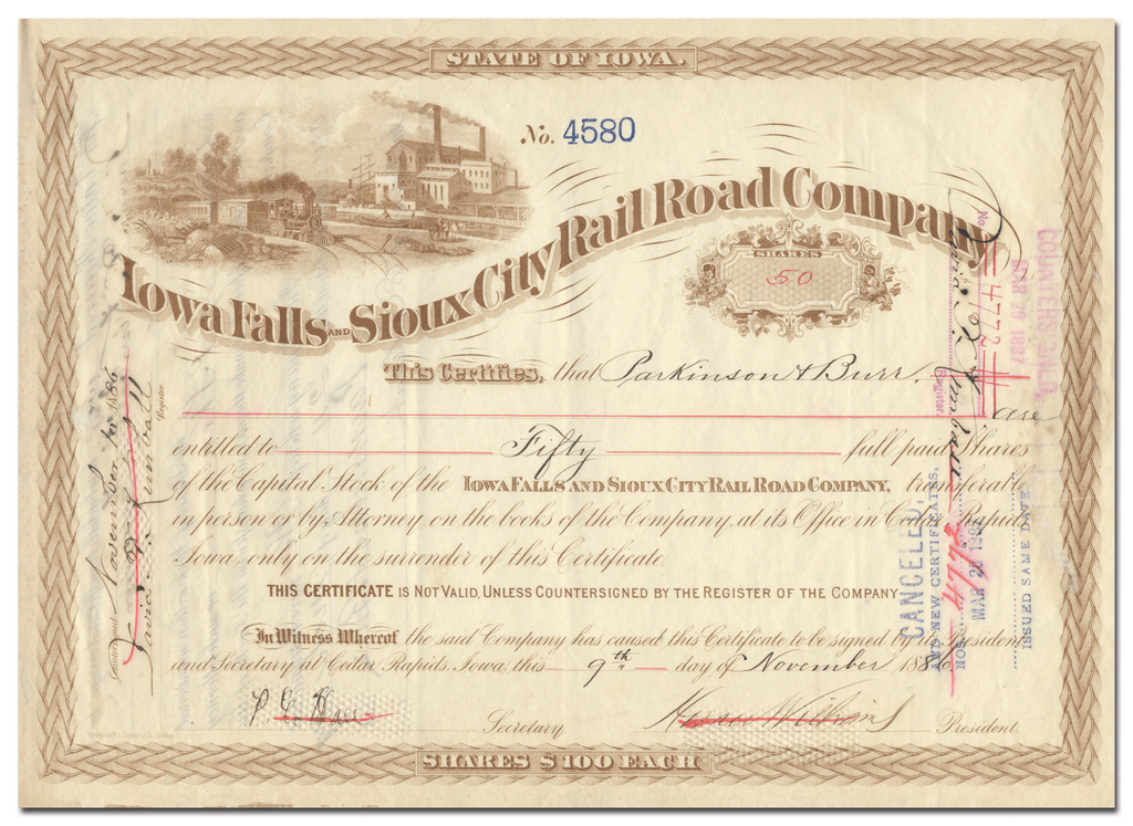 Iowa Falls and Sioux City Rail Road Company Stock Certificate