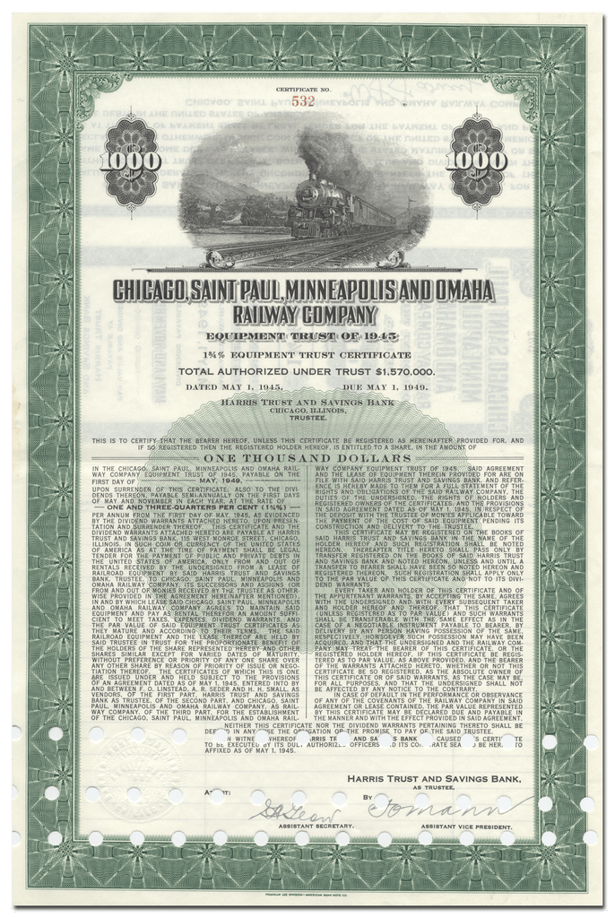 Chicago, Saint Paul, Minneapolis and Omaha Railway Company Bond Certificate