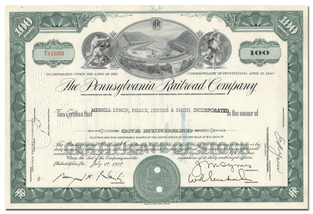 Pennsylvania Railroad Company Stock Certificate