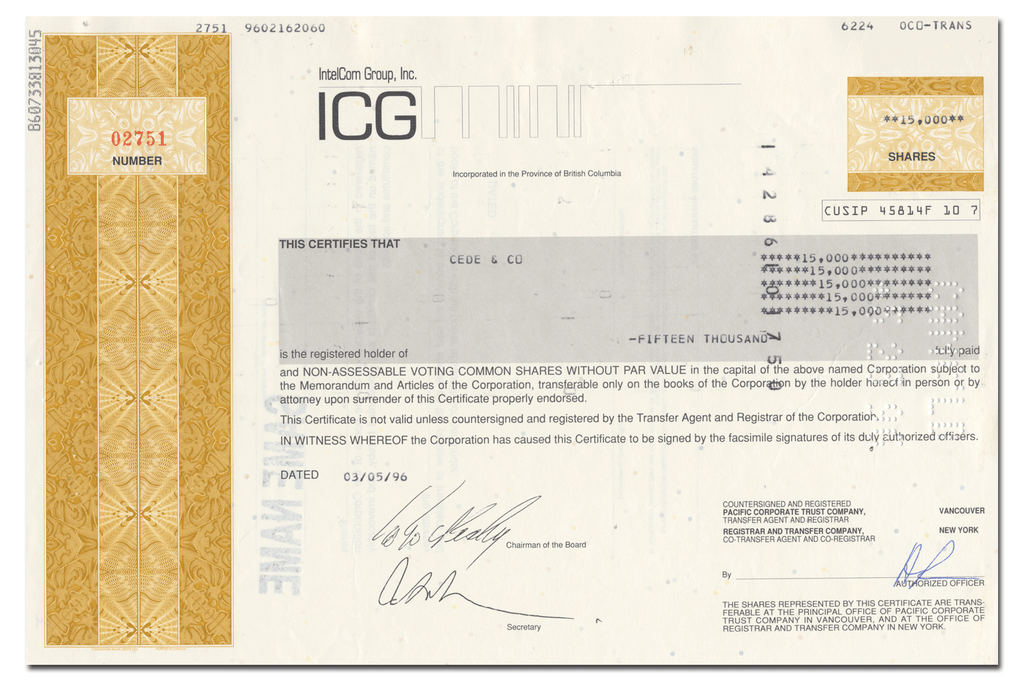 IntelCom Group, Inc. Stock Certificate