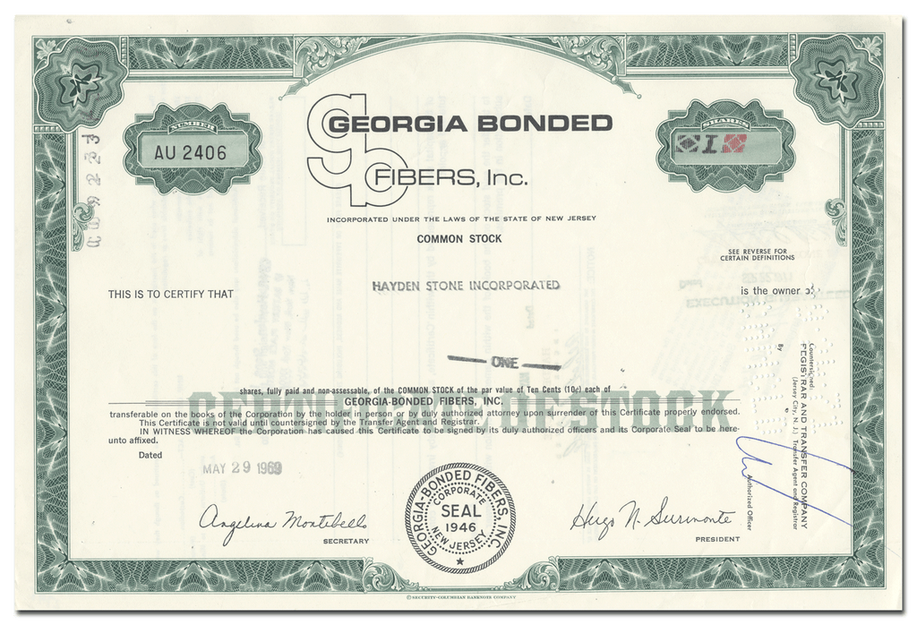 Georgia Bonded Fibers, Inc. Stock Certificate