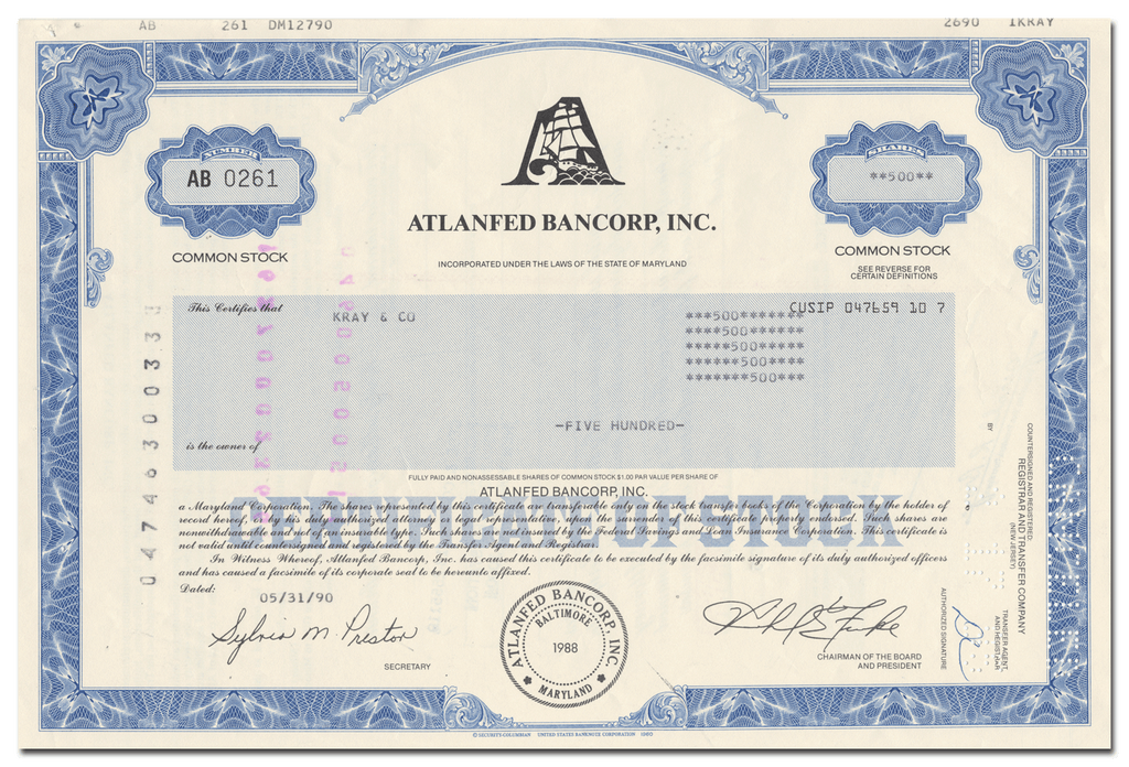 Atlanfed Bancorp, Inc. Stock Certificate
