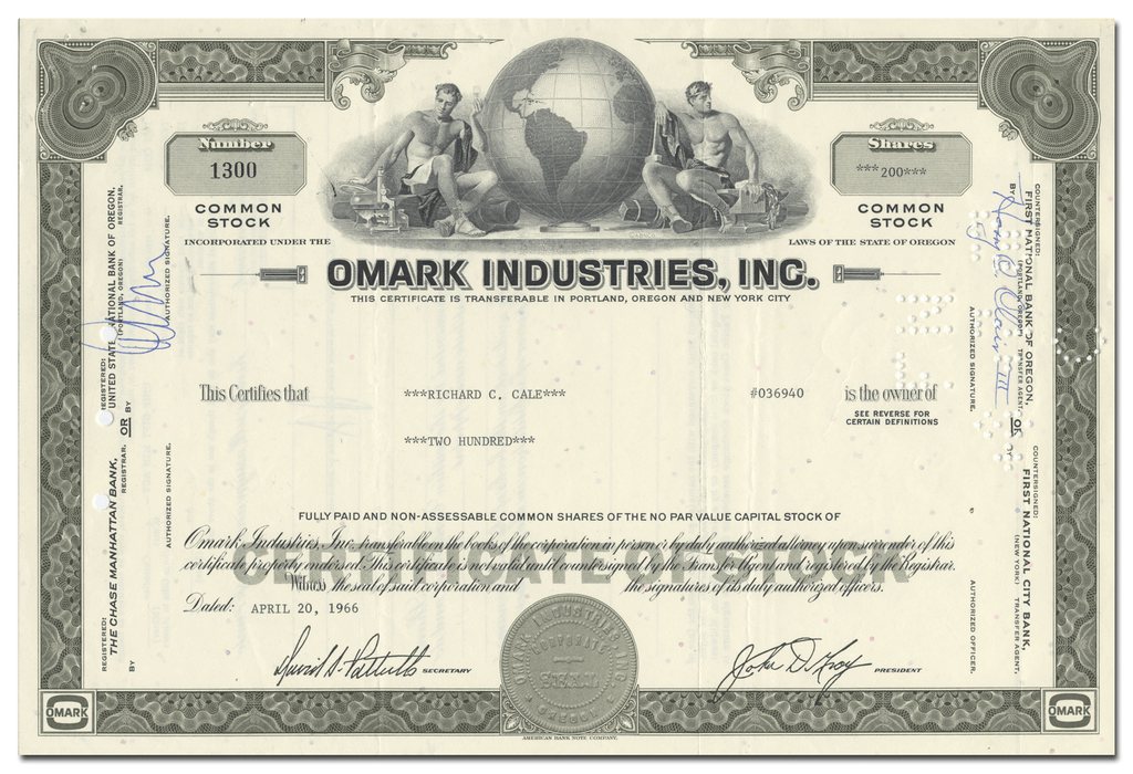 Omark Industries, Inc. Stock Certificate