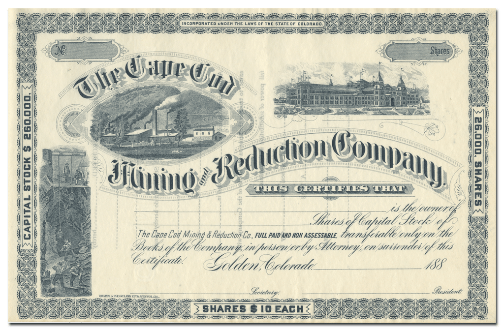 Cape Cod Mining and Reduction Company Stock Certificate