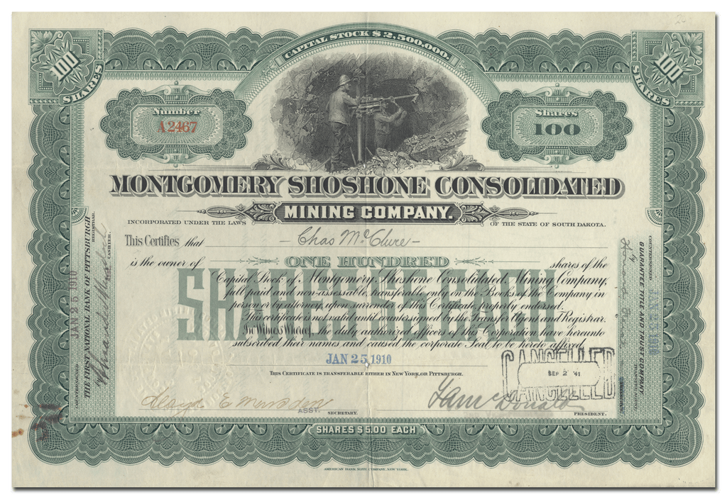 Montgomery Shoshone Consolidated Mining Company Stock Certificate
