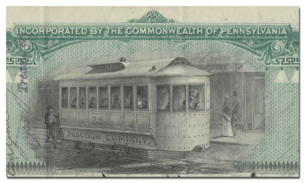 Pittsburg Traction Company Stock Certificate