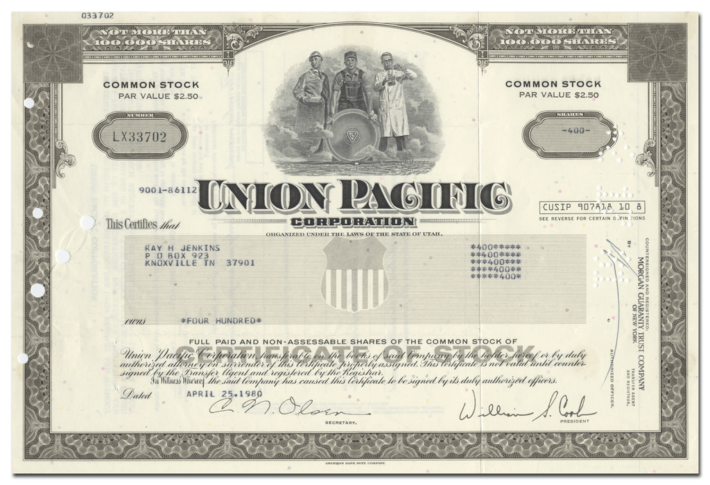 Union Pacific Corporation Stock Certificate