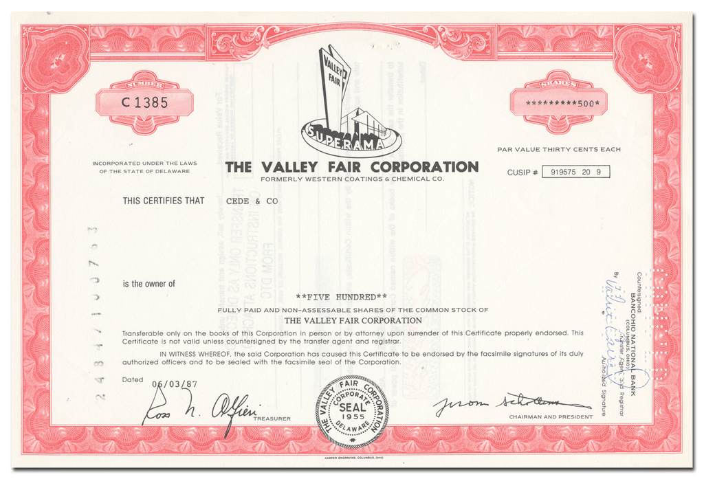 Valley Fair Corporation Stock Certificate