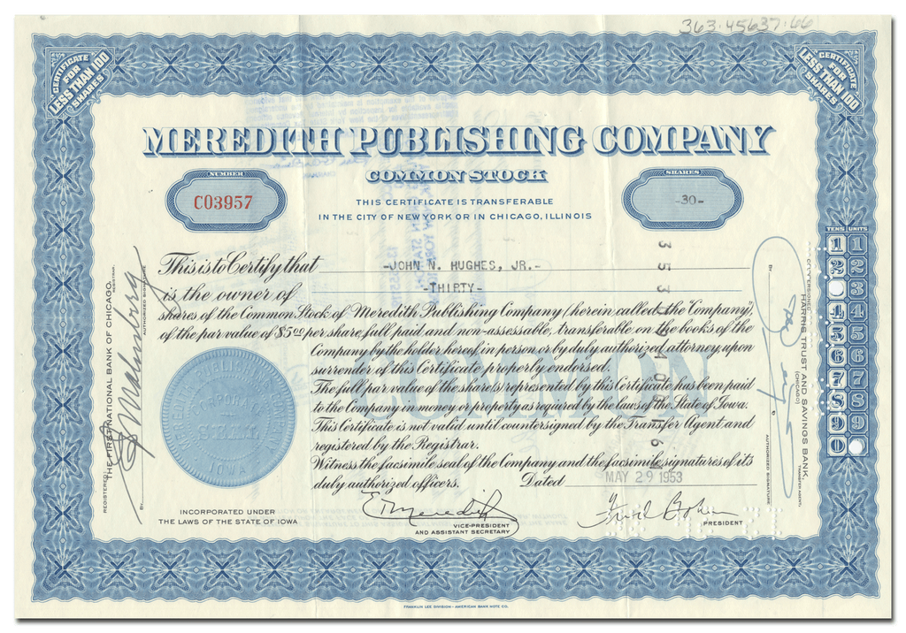 Meredith Publishing Company Stock Certificate