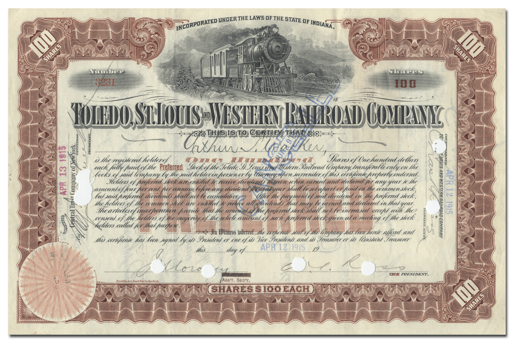 Toledo, St. Louis and Western Railroad Company Stock Certificate