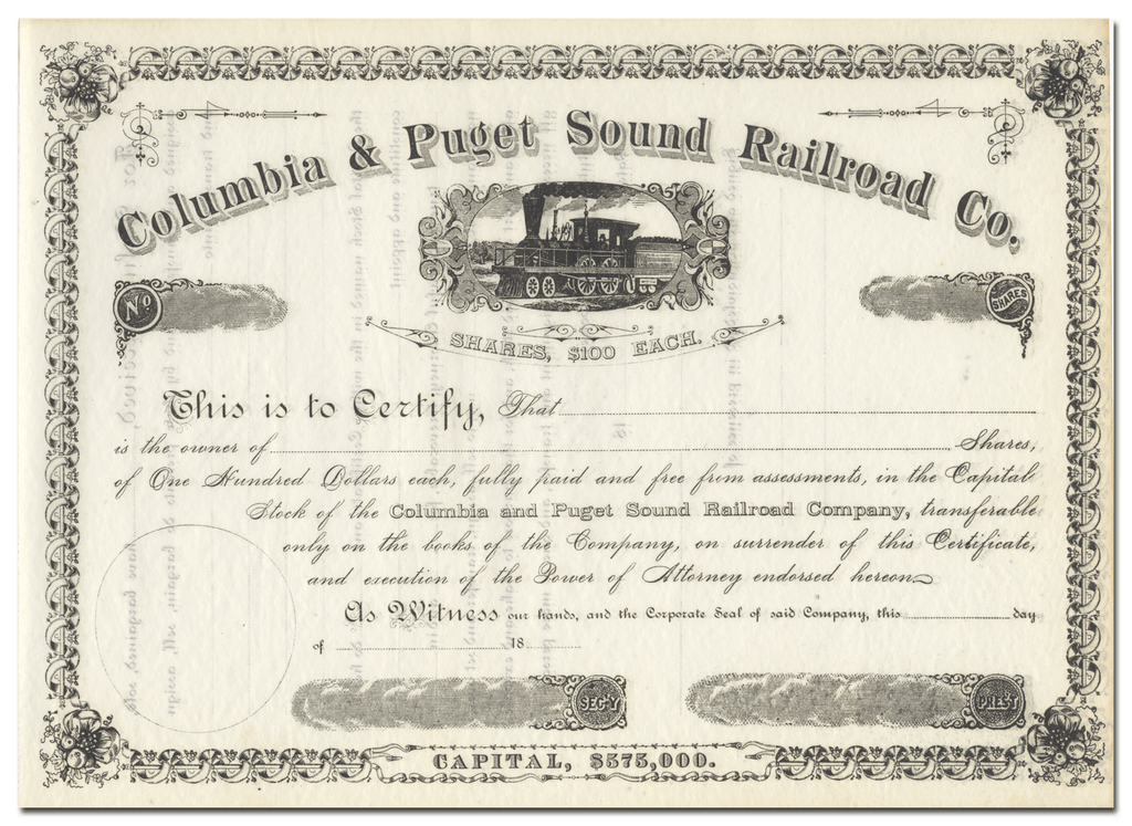 Columbia & Puget Sound Railroad Company Stock Certificate
