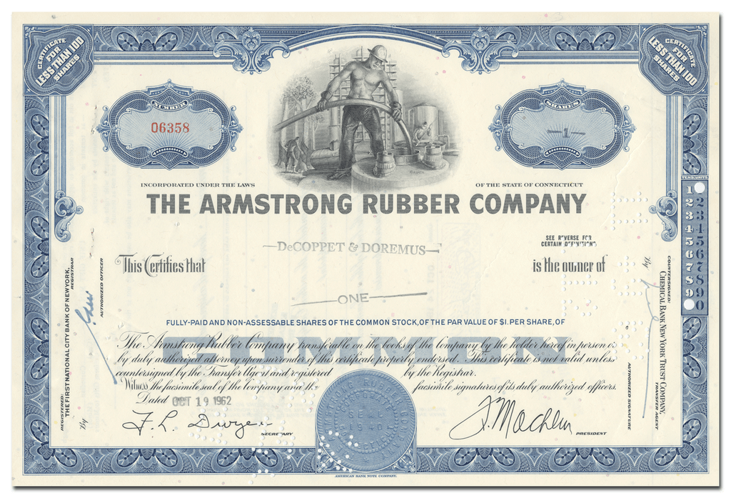 Armstrong Rubber Company Stock Certificate
