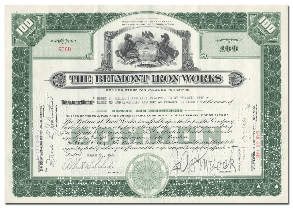 Belmont Iron Works Stock Certificate
