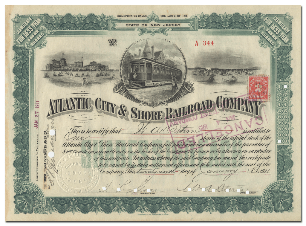 Atlantic City & Shore Railroad Company Stock Certificate