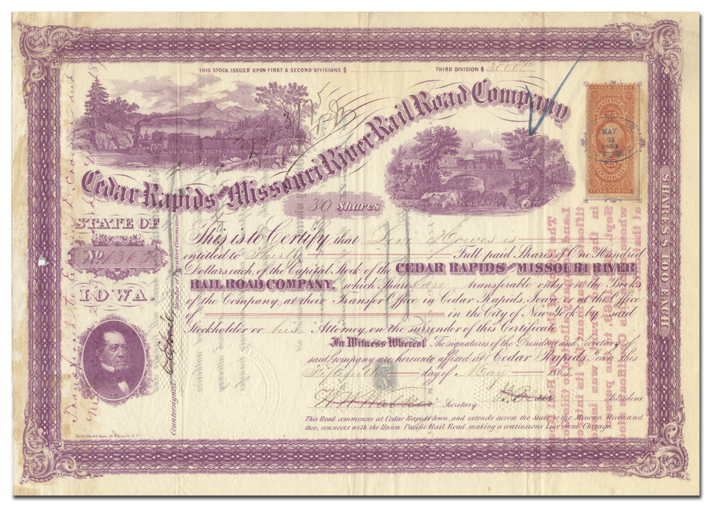 Cedar Rapids and Missouri River Rail Road Company Stock Certificate Signed by John Insley Blair