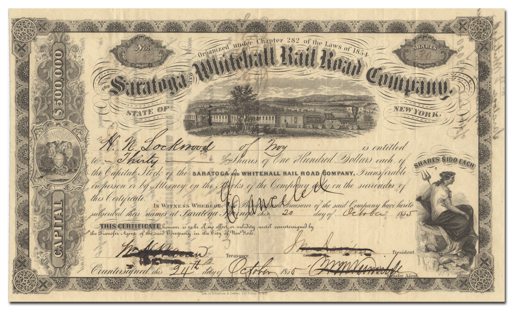 Saratoga and Whitehall Rail Road Company Stock Certificate