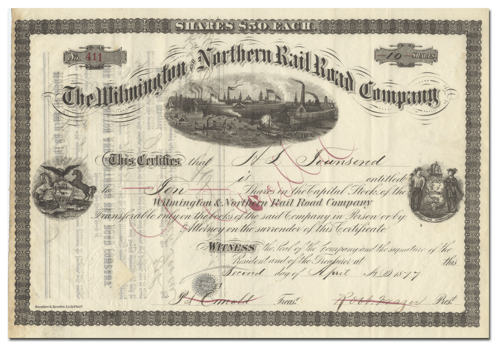 Wilmington and Northern Rail Road Company Stock Certificate
