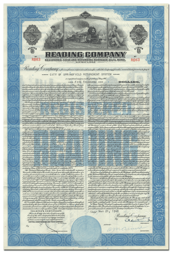 Reading Company Bond Certificate