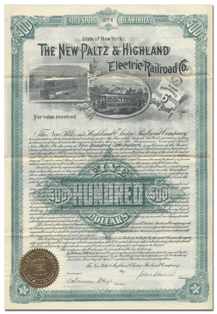 New Paltz & Highland Electric Railroad Company Bond Certificate