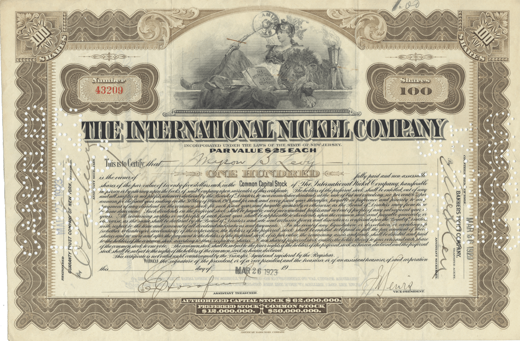 International Nickel Company Stock Certificate