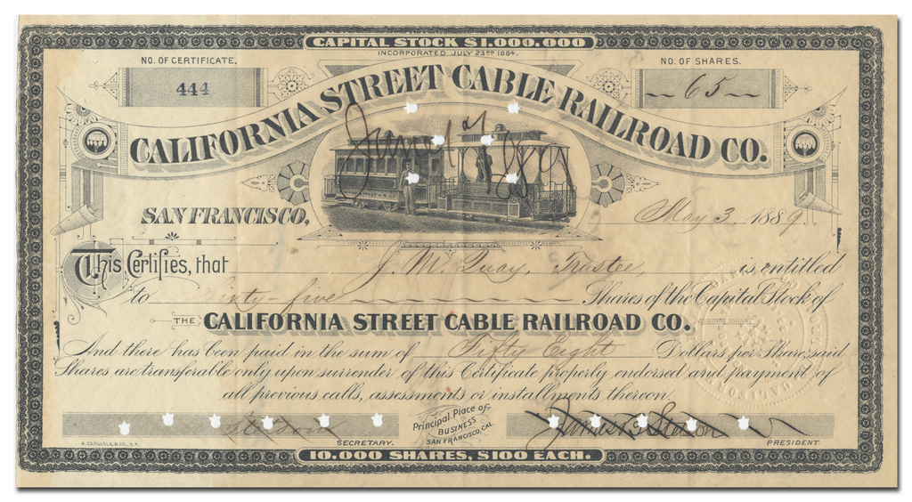 California Street Cable Railroad Co. Stock Certificate