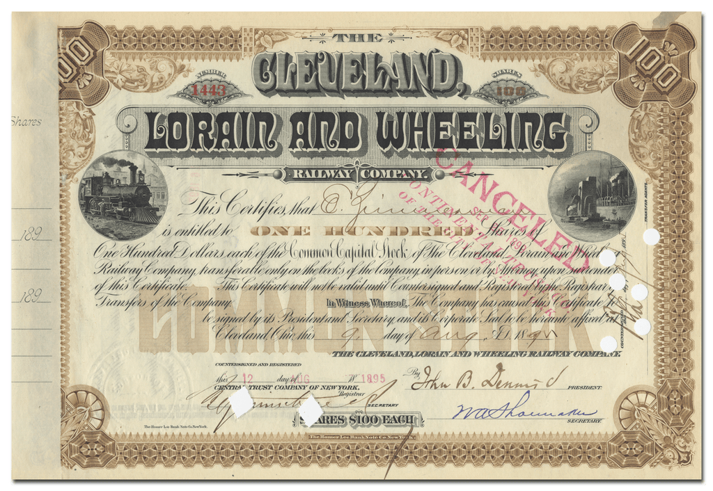 Cleveland, Lorain and Wheeling Railway Company Stock Certificate