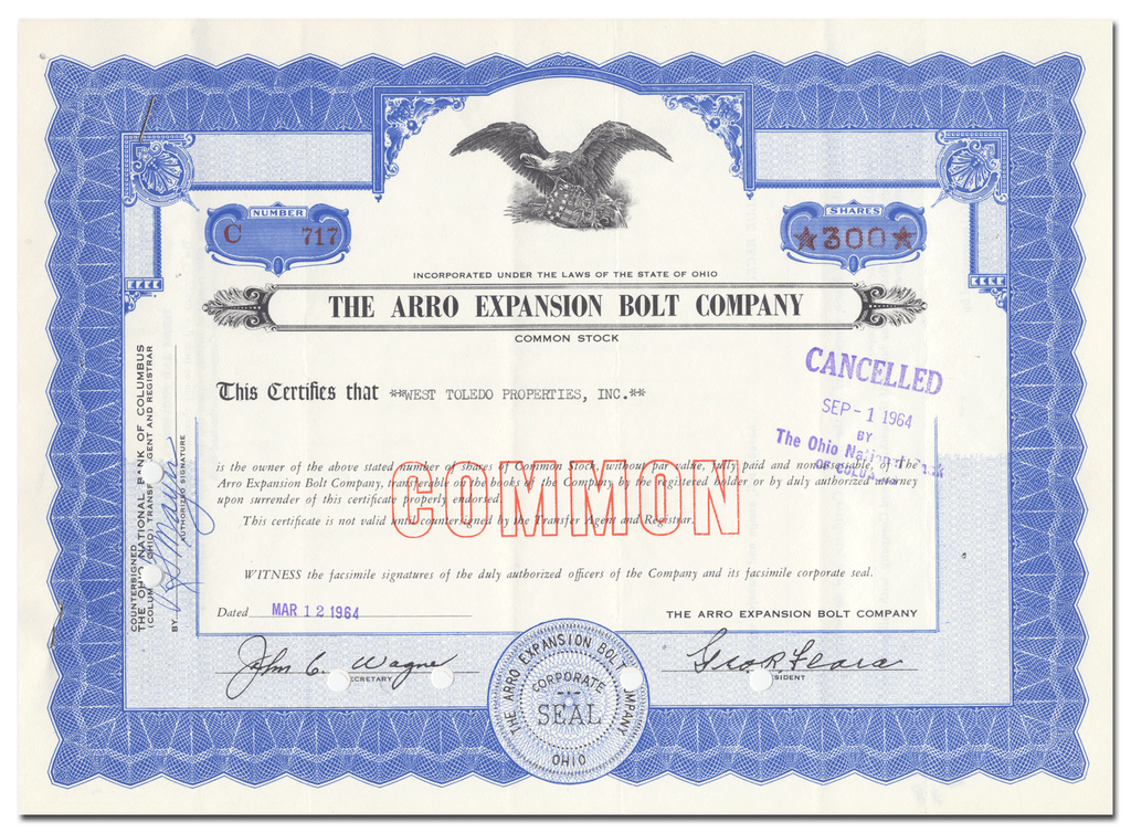 Arro Expansion Bolt Company Stock Certificate