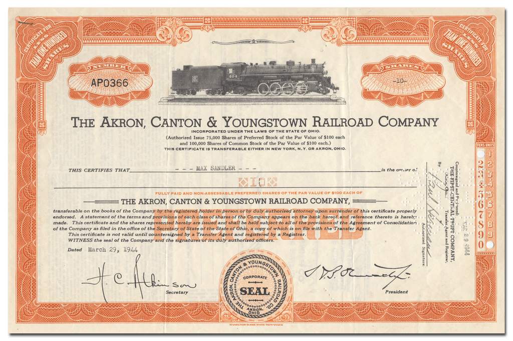 Akron, Canton & Youngstown Railroad Company Stock Certificate