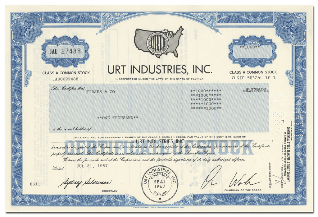 URT Industries, Inc. Stock Certificate
