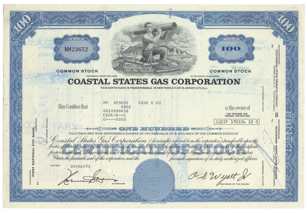 Coastal States Gas Producing Company Stock Certificate