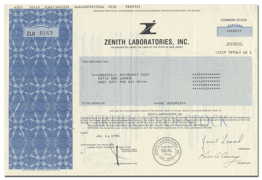 Zenith Laboratories, Inc. Stock Certificate
