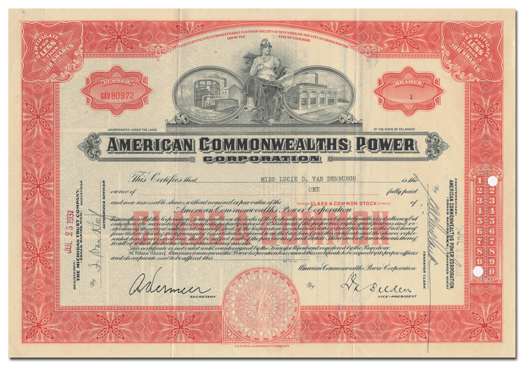 American Commonwealths Power Corporation Stock Certificate